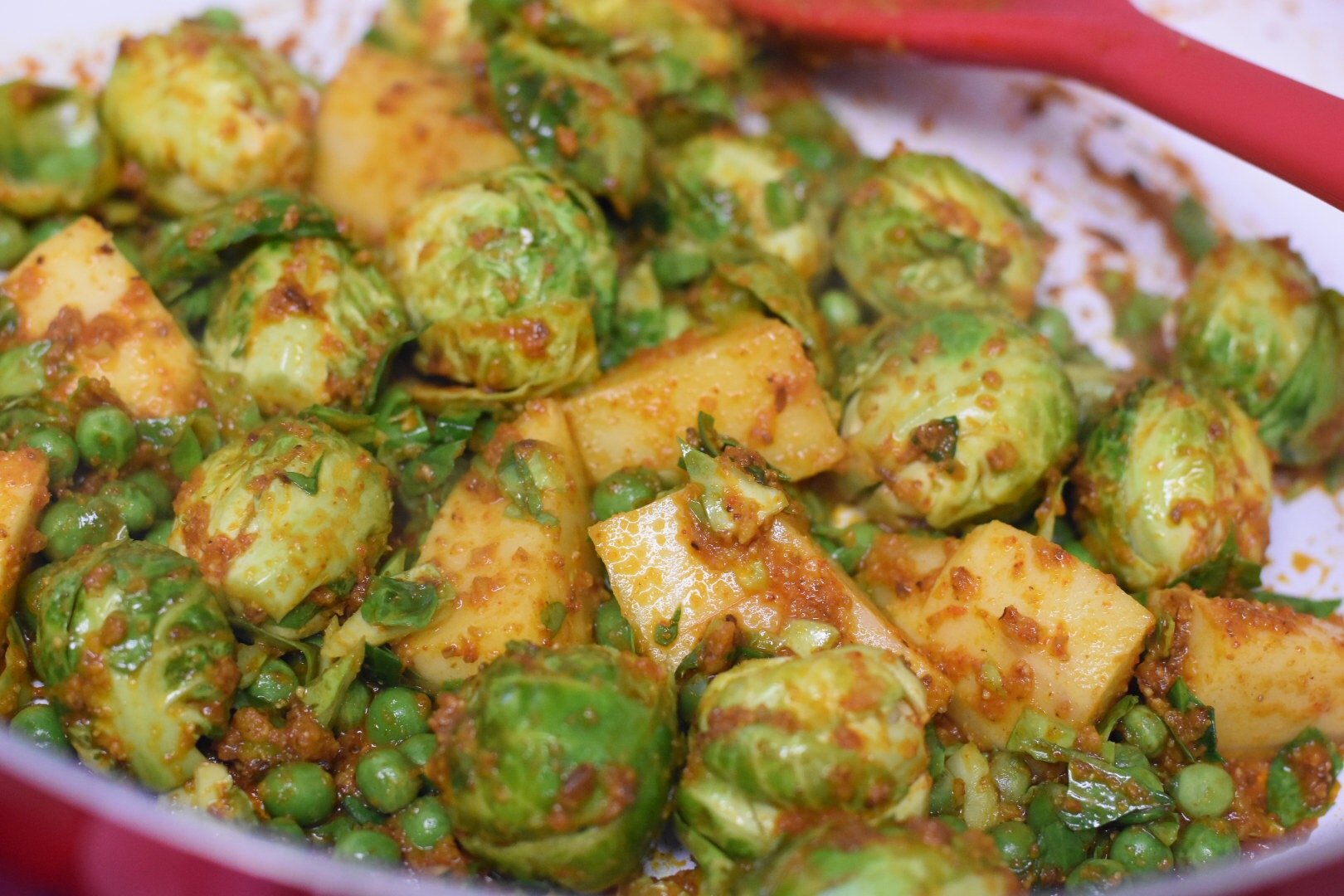 Indian Style Brussels Sprouts Curry Baby Cabbage Curry Cooking Therapist